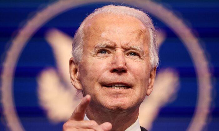 Democratic presidential nominee Joe Biden speaks to reporters during a news conference in Wilmington, Delaware, on Nov. 10, 2020. (Jonathan Ernst/Reuters)