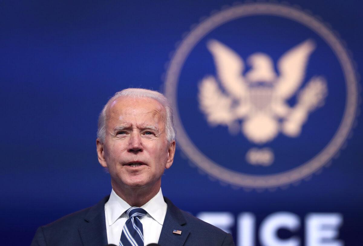 Joe Biden addresses the media