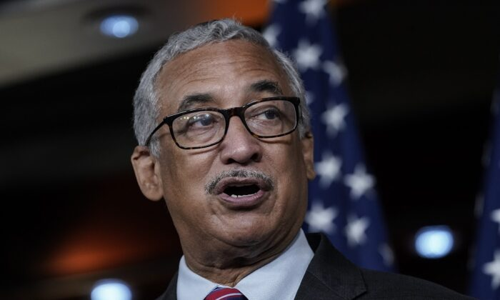 Rep. Bobby Scott (D-Va.) speaks during a news at the U.S. Capitol in Washington on July 29, 2020. In 2019, Scott introduced a bill that would raise the federal minimum wage to $15 per hour. (Drew Angerer/Getty Images)