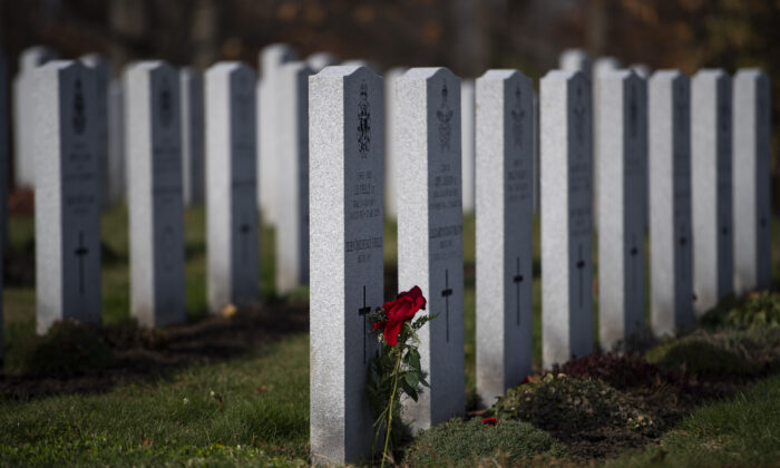 A rose lies against a tombstone at the National Military Cemetery in Ottawa on Nov. 7, 2020. (Justin Tang/The Canadian Press)