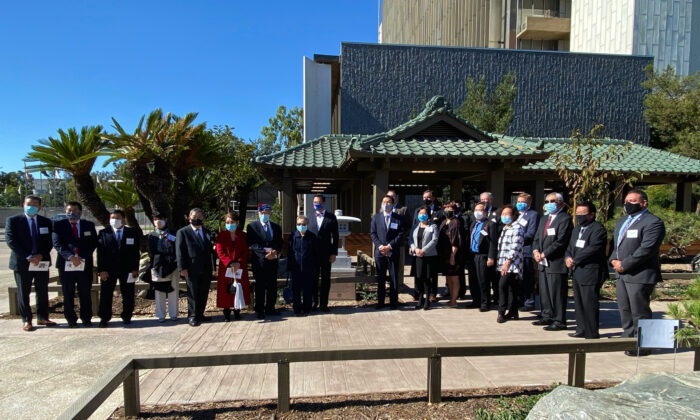 Officials gather to celebrate the 50th anniversary of the Orange County Japanese Garden and Tea House in Santa Ana, Calif., on Nov. 10, 2020. (Drew Van Voorhis/The Epoch Times)