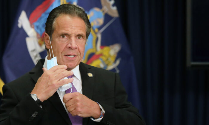 New York state Gov. Andrew Cuomo speaks at a news conference in New York on Sept. 8, 2020. (Spencer Platt/Getty Images)