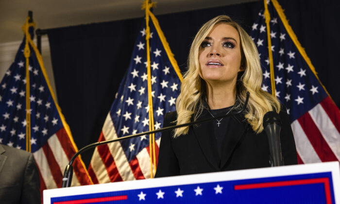 White House Press Secretary Kayleigh McEnany speaks during a press conference at the Republican National Committee headquarters in Washington, on Nov. 9, 2020. (Samuel Corum/Getty Images)