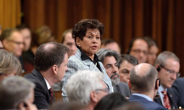 Liberal MP Yasmin Ratansi delivers a speech prior to the vote for the election of a new Speaker to preside over the House of Commons on Parliament Hill in Ottawa, on Dec. 3, 2015. (The Canadian Press/Sean Kilpatrick)