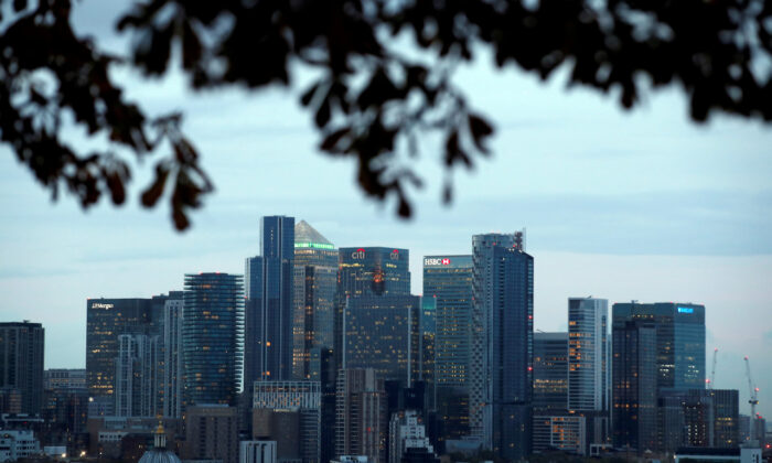 File photo shows a view of Canary Wharf business district in London on Oct. 14, 2020. (Matthew Childs/Reuters)