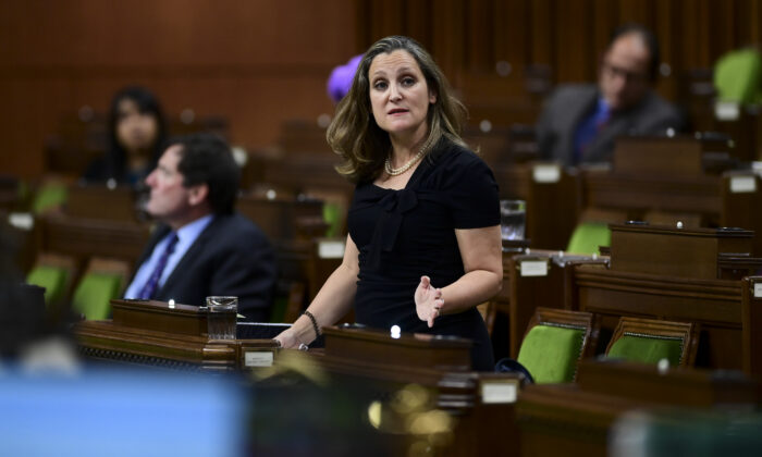 Minister of Finance Chrystia Freeland answers a question during question period in the House of Commons on Parliament Hill in Ottawa on Oct. 29, 2020. (The Canadian Press/Sean Kilpatrick)
