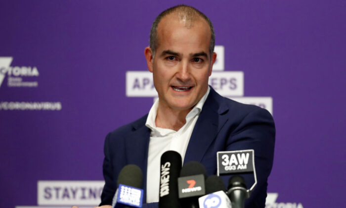 Then Victorian Deputy Premier and Minister for Education James Merlino speaks to the media during a press conference in Melbourne, Australia, on Aug. 2, 2020. (Darrian Traynor/Getty Images)