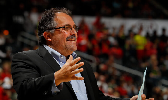 Coach Stan Van Gundy of the Detroit Pistons at Philips Arena in Atlanta, Ga., on Feb. 11, 2018. Van Gundy was recently quoted as lamenting old friends and colleagues are racists, misogynists, and narcissists. (Kevin C. Cox/Getty Images)