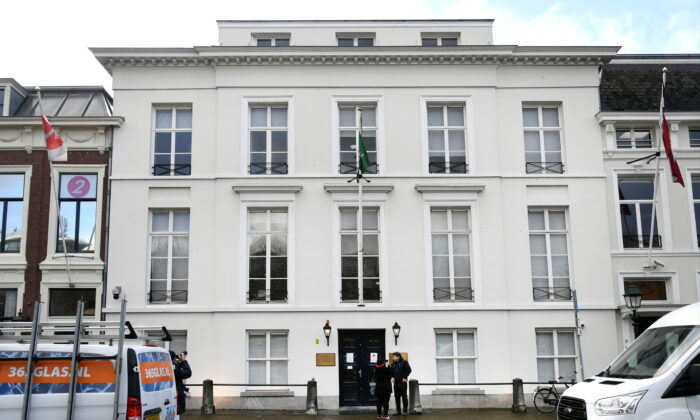 The exterior of the Embassy of Saudi Arabia is pictured after unidentified assailants sprayed it with gunfire, in The Hague, Netherlands Nov. 12, 2020. (Piroschka van de Wouw/Reuters)
