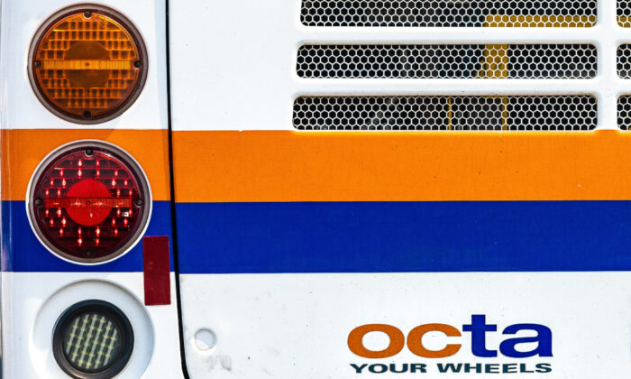 The back of an Orange County Transportation Authority (OCTA) bus is seen in Orange County, Calif., on Aug. 21, 2020. (John Fredricks/The Epoch Times)