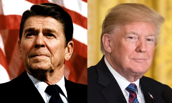 Left: President Ronald Reagan (Michael Evans/The White House/Getty Images); Right: President Donald Trump (Samira Bouaou/The Epoch Times)