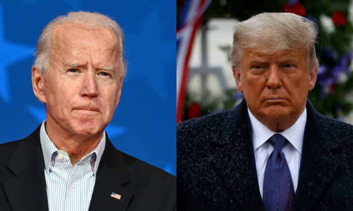 Democratic presidential nominee Joe Biden (L) and President Donald Trump in file photographs. (Getty Images; Reuters)