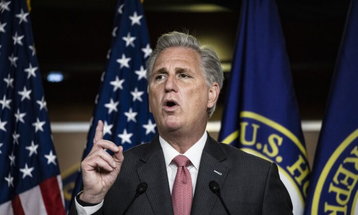 House Minority Leader Kevin McCarthy (R-Calif.) speaks during a press conference at the U.S. Capitol in Washington on Nov. 12, 2020. (Samuel Corum/Getty Images)