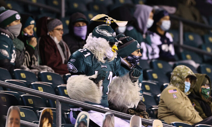 Fans watch a football game in Philadelphia, Pa., on Nov. 1, 2020. (Elsa/Getty Images)