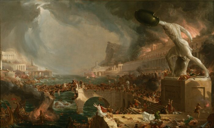 "Thomas Cole's series of five paintings, ""The Course of Empire,"" is a time machine of sorts. It shows the rise and fall of man's morality and civilization. His fourth in the series: ""The Course of Empire: Destruction,"" 1836. Oil on Canvas, 39.5 inches by 63.5 inches. New York Historical Society. (Public Domain)"