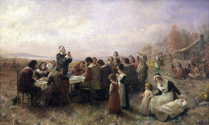 """""""The First Thanksgiving at Plymouth,"""" 1914, by Jennie Augusta Brownscombe. Pilgrim Hall Museum, Plymouth, Massachusetts. (Public Domain)"""