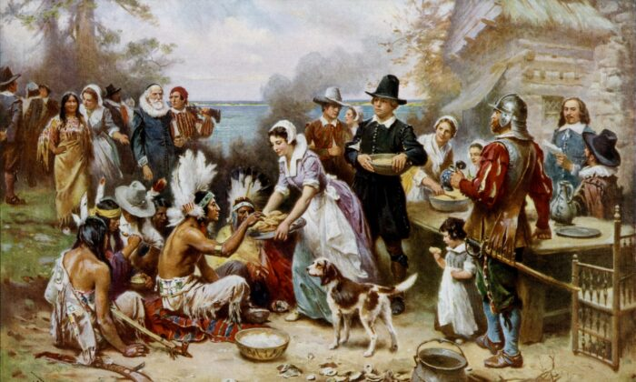 """""""The First Thanksgiving,"""" circa 1912 and circa 1915, Jean Louis Gerome Ferris. Private Collection. Library of Congress's Prints and Photographs division. (Public Domain)"""