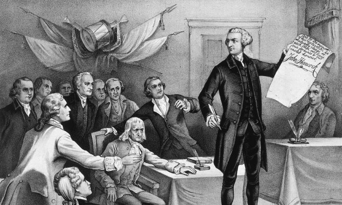 4th July 1776:  John Hancock (1737–1793), president of the Continental Congress is the first to put his signature to the Declaration of Independence, watched by fellow patriots Robert Morris, Samuel Adams, Benjamin Rush, Richard Henry Lee, Charles Carroll, John Witherspoon, John Adams, and Edward Rutledge. Original Artwork: Printed by Currier & Ives.  (MPI/Getty Images)