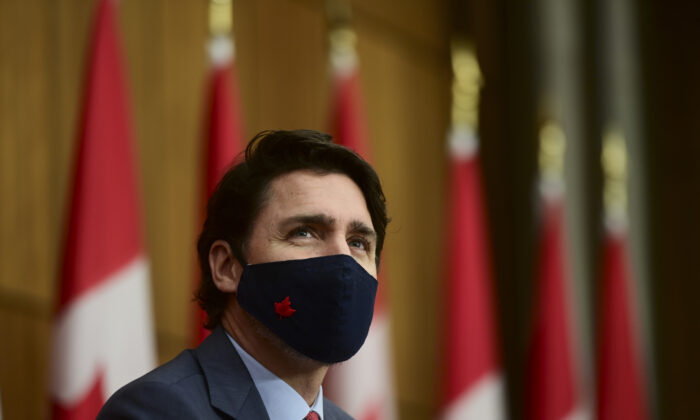 Prime Minister Justin Trudeau provides an update on the COVID pandemic during a press conference in Ottawa on Nov. 13, 2020. (The Canadian Press/Sean Kilpatrick)