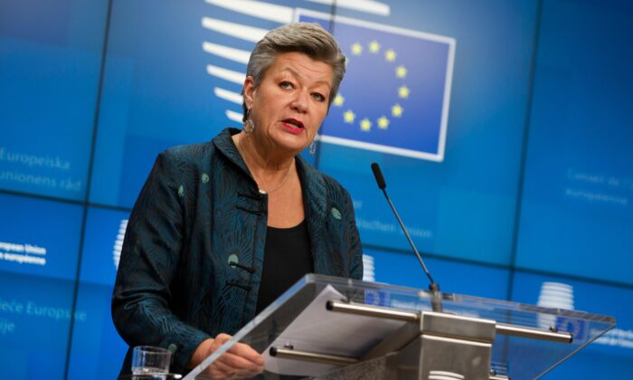 European Commissioner for Home Affairs Ylva Johansson speaks during a media conference after a meeting of EU interior ministers at the European Council building in Brussels, on Nov. 13, 2020. (Virginia Mayo /Pool/AP Photo)