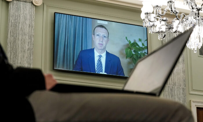Facebook CEO Mark Zuckerberg testifies remotely during a Senate Commerce, Science, and Transportation Committee hearing with big tech companies in Washington on Oct. 28, 2020. (Greg Nash/Pool/Getty Images)