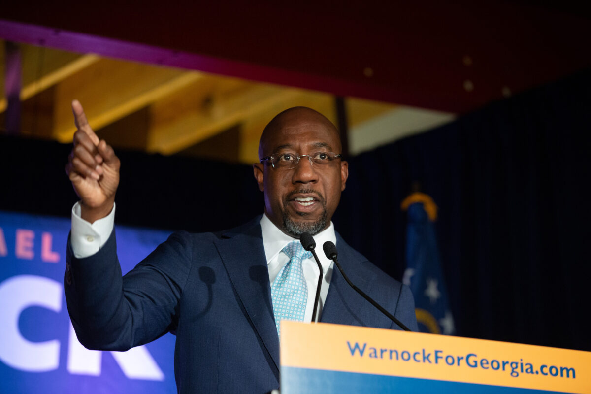 Senate Candidate Reverend Raphael Warnock Holds Election Night Event In Georgia