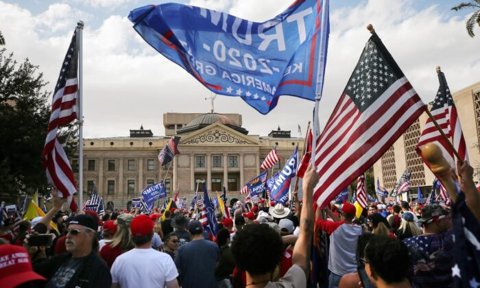 Supporters of President Donald Trump demonstrate at a 'Stop the Steal' rally in front of the State Capitol on Nov. 7, 2020 in Phoenix, Arizona. (Mario Tama/Getty Images)