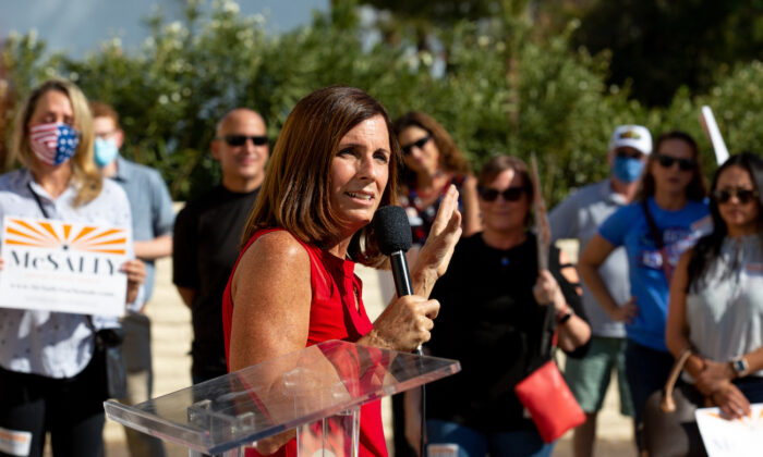 Sen. Martha McSally (R-Ariz) speaks to supporters at the AZGOP Headquarters in Phoenix, Arizona, on Nov. 2, 2020. (Courtney Pedroza/Getty Images)