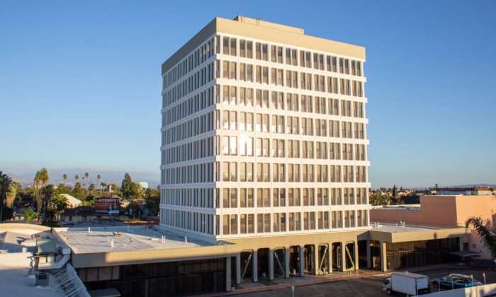 The historic 888 Tower office building, which will be converted into an apartment complex, in seen in downtown Santa Ana, Calif., on Nov. 13, 2020. (John Fredricks/The Epoch Times)
