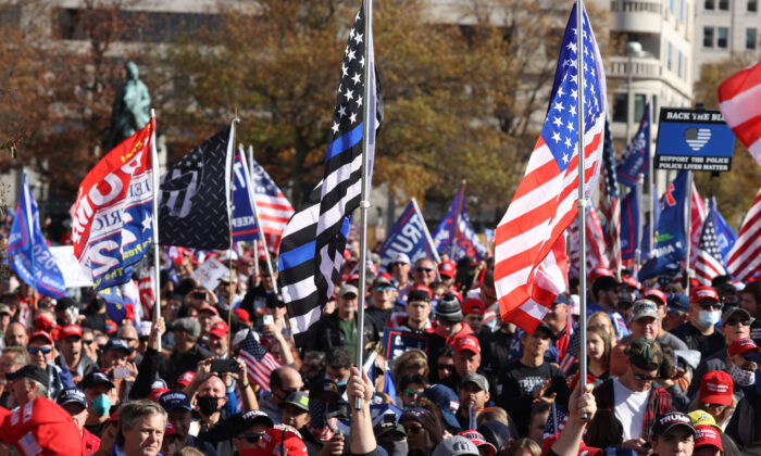 "People participate in the ""Million MAGA March"" from Freedom Plaza to the Supreme Court in Washington, on Nov. 14, 2020. (Tasos Katopodis/Getty Images)"