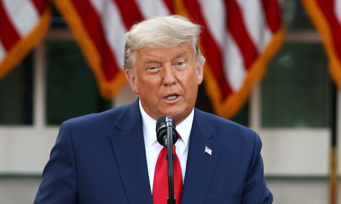 President Donald Trump speaks about Operation Warp Speed in the Rose Garden at the White House in Washington, on Nov. 13, 2020. (Tasos Katopodis/Getty Images)