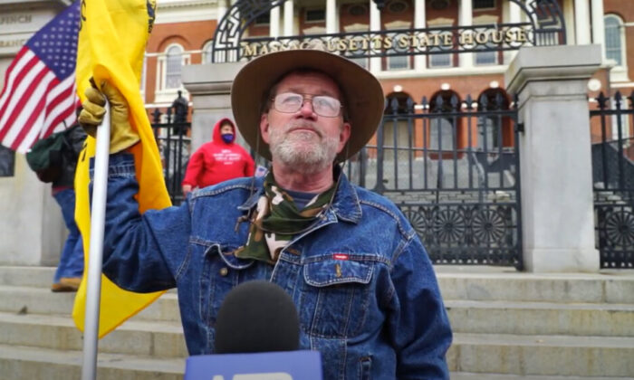 John McHugh attended a Stop the Steal rally in Boston, Massachusetts on Nov. 14, 2020. (NTD Television)