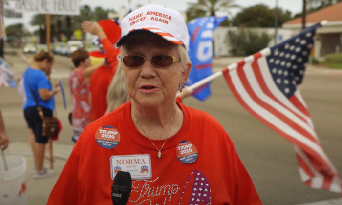 Norma Scott attended a Stop the Steal rally in Ormond Beach, Florida on Nov. 14, 2020. (NTD Television)