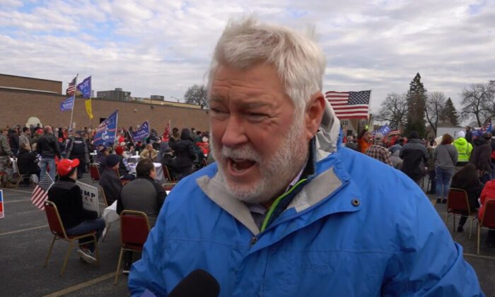 Brian Bunn attended a Defend Your Vote rally in Milwaukee, Wisconsin on Nov. 14, 2020. (NTD Television)