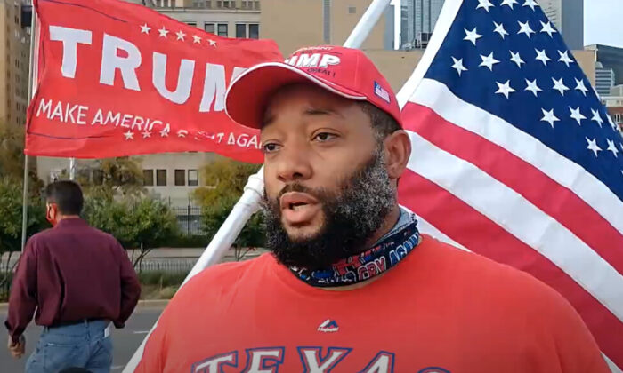 Steve Brown attended a Stop the Steal rally in Dallas, Texas on Nov. 14, 2020. (NTD Television)