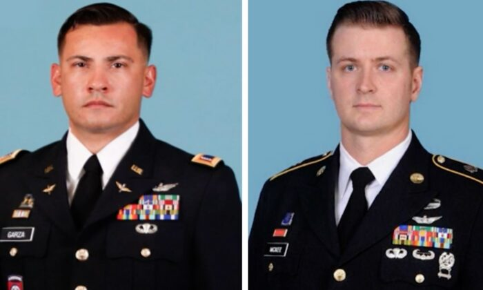 Chief Warrant Officer 3 Dallas Gearld Garza, 34 (L), and Staff Sgt. Kyle Robert McKee, 35. (Courtesy of U.S. Army)