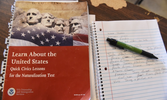 A U.S. citizenship test review booklet and notes are seen during a citizenship test preparation class in Perris, Calif., on June 16, 2016. 