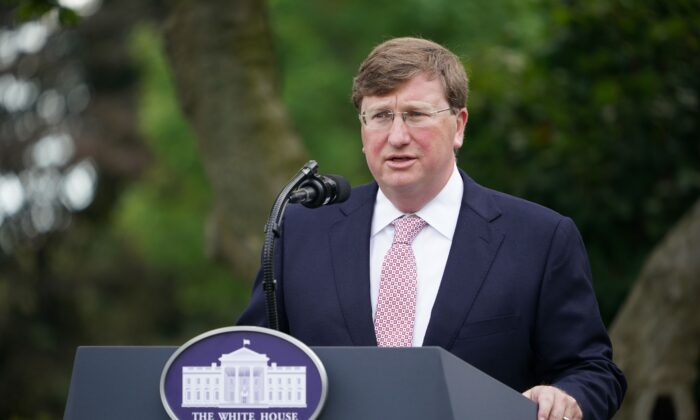 Mississippi Gov. Tate Reeves speaks in the Rose Garden of the White House in Washington on Sept. 28, 2020. (Mandel Ngan/AFP via Getty Images)