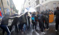 Water Cannon Fired at Frankfurt Anti-Lockdown Rally