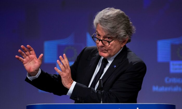 EU Internal Market Commissioner Thierry Breton talks to journalists during an online news conference at the EU headquarters in Brussels, Belgium, on Sept. 3, 2020. (Francisco Seco/Pool via Reuters)
