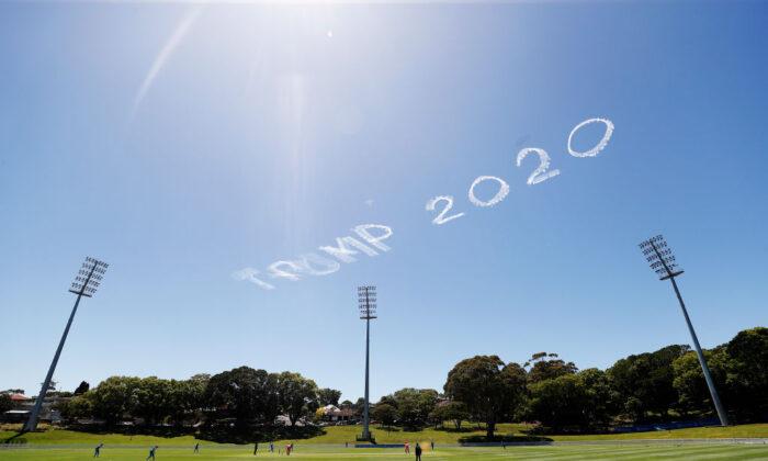 'Trump 2020' written in the sky from the Drummoyne Oval in Sydney, Australia, on Nov. 15, 2020. (Ryan Pierse/Getty Images)