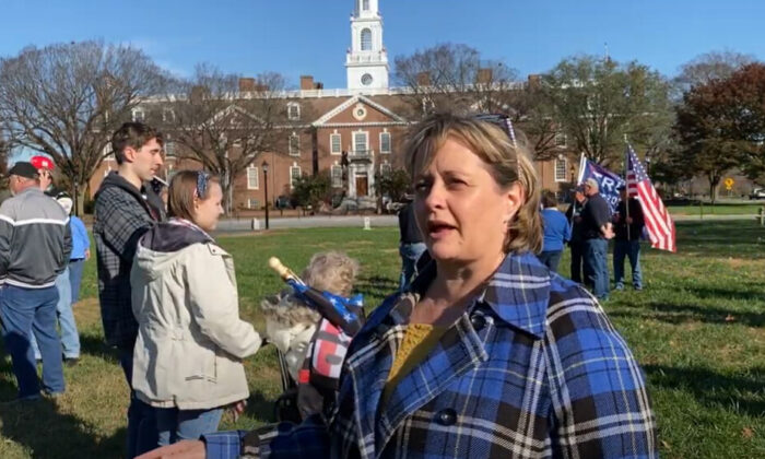 Catherine Murphy attended a attended a Stop the Steal rally in Dover, Delaware on Nov. 14, 2020. (NTD Television)