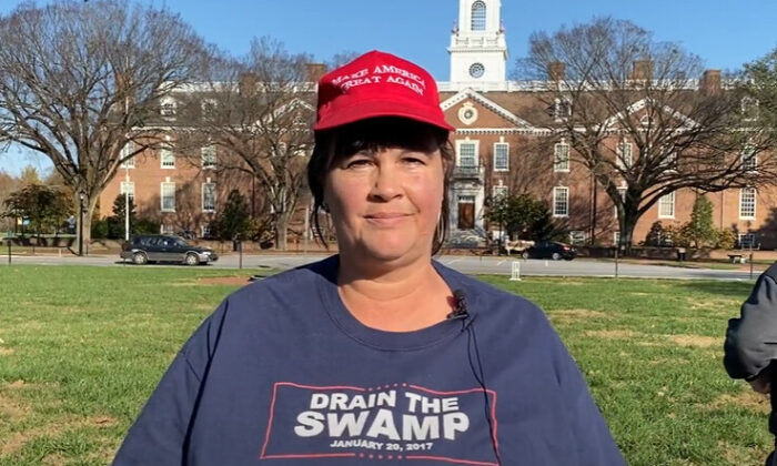 Regina Kadow attended a attended a Stop the Steal rally in Dover, Delaware on Nov. 14, 2020. (NTD Television)