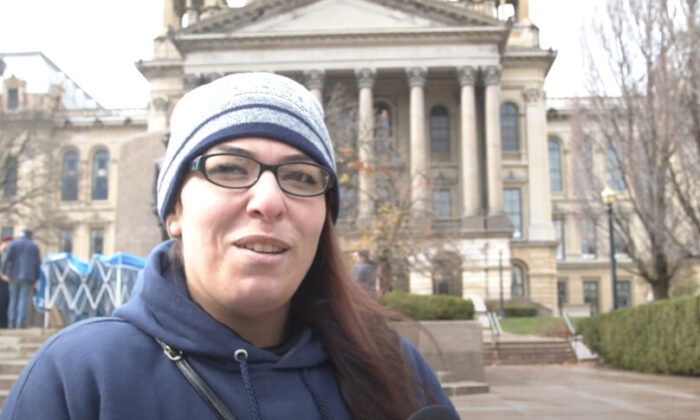 Ashley Ramos attended a Stop the Steal rally in Springfield, Illinois on Nov. 14, 2020. (NTD Television)