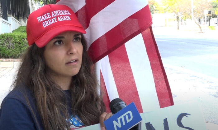 Laura Lozano Zuniga  attended a Stop the Steal rally in Austin, Texas on Nov. 14, 2020. (NTD Television)