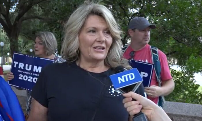 Angel Self attended a Stop the Steal rally in Austin, Texas on Nov. 14, 2020. (NTD Television)