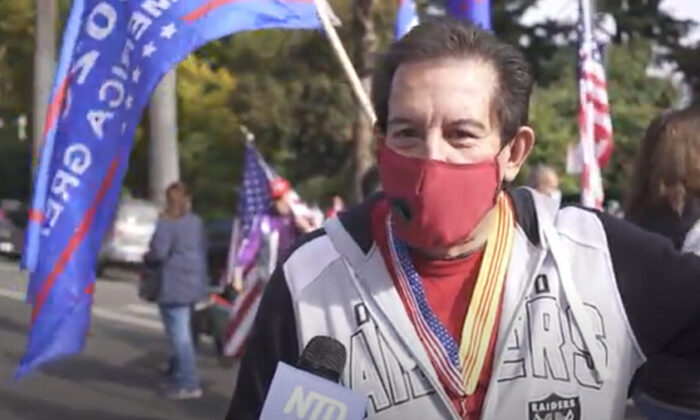 Buck Suggs attended a Stop the Steal rally in Sacramento, California on Nov. 14, 2020. (NTD Television)