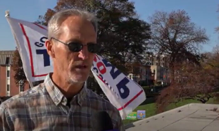 Craigg Cody attended a Stop the Steal rally in Harrisburg, Pennsylvania on Nov. 14, 2020. (NTD Television)