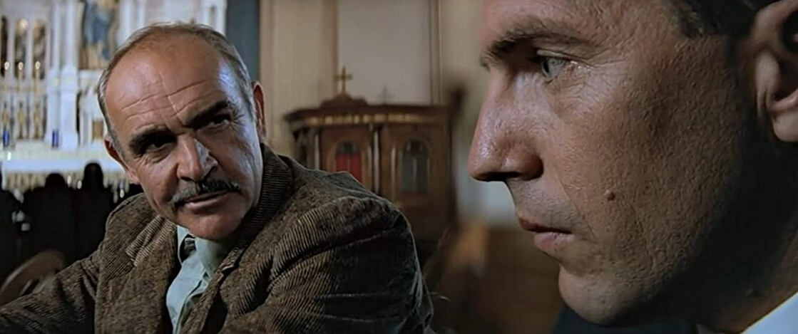 """two men in a church in """"The Untouchables"""""""