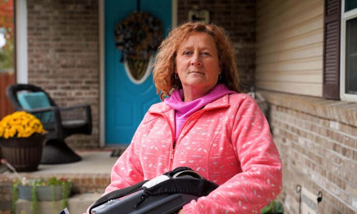 Teresa Shepherd, resident of the Indiana bellwether county of Vigo, in front of her daughter's house in Seelyville, Ind., on Oct. 20, 2020. She said she almost never votes, but this year decided to vote for President Donald Trump. (Cara Ding/The Epoch Times)